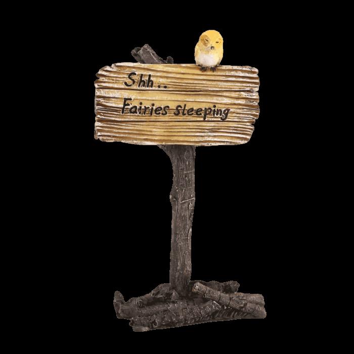 fairy garden sign, sleeping fairies