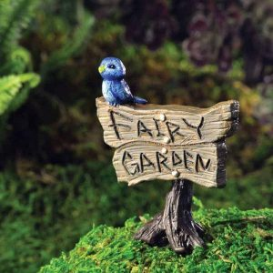 Blue Bird Fairy Garden Sign