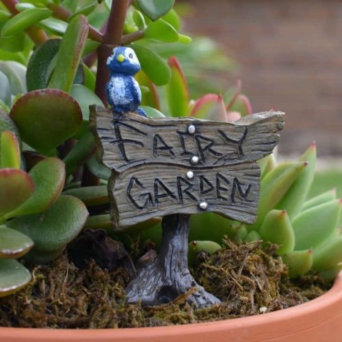 """Fairy Garden"" Blue Bird Sign"