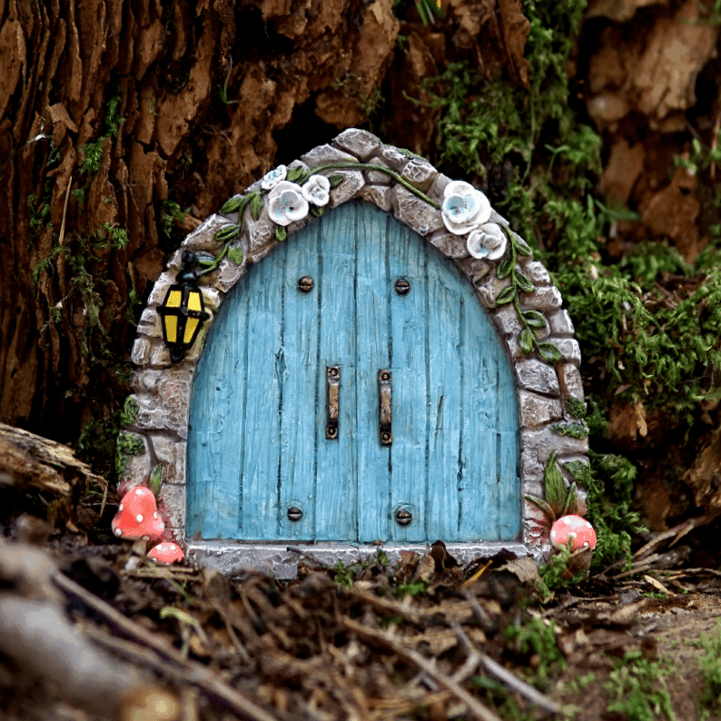 Cobblestone blue fairy door fairy cottage home garden for Fairy doors au