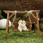 Rabbits on Swinging Bench