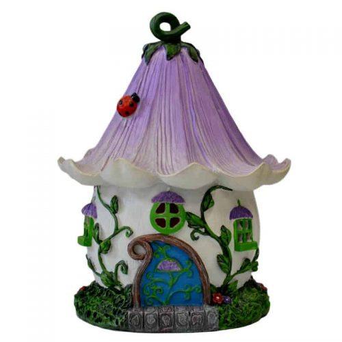 Purple Flower Fairy House – Solar