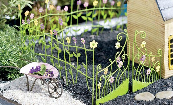 garden with flower fence and gate