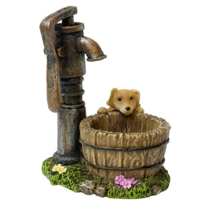 Puppy with well and water pump