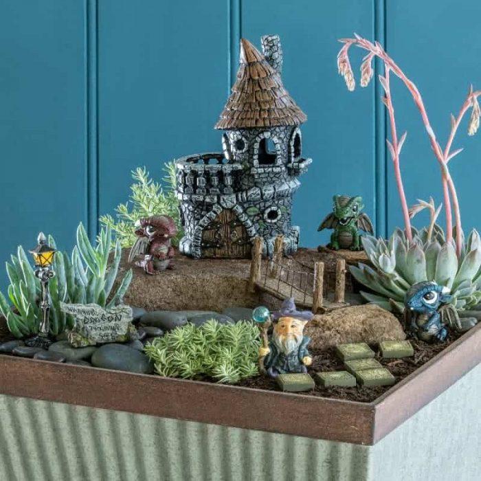 Dragon themed fairy garden kit