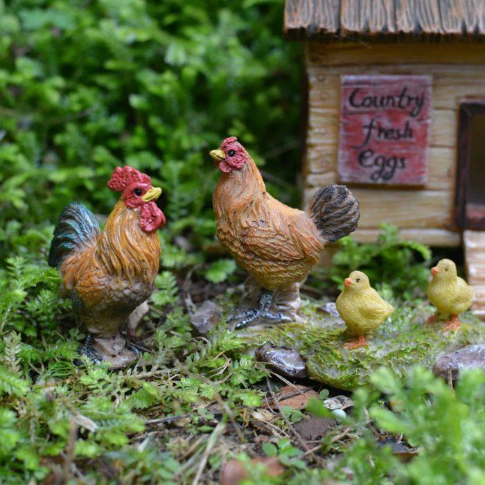 fairy garden chickens