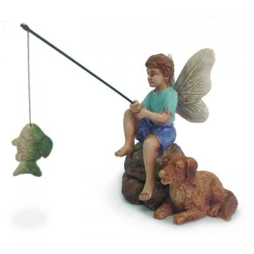 fairy figurine, fishing