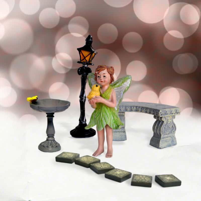 Mini Kit, Fairy garden furniture, birdbathe, lamp post, stepping stones and fairy
