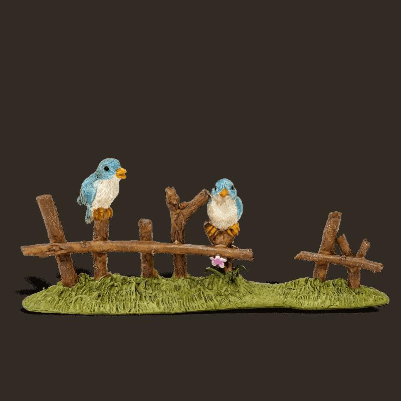 birds on a fence ornament for fairy gardens