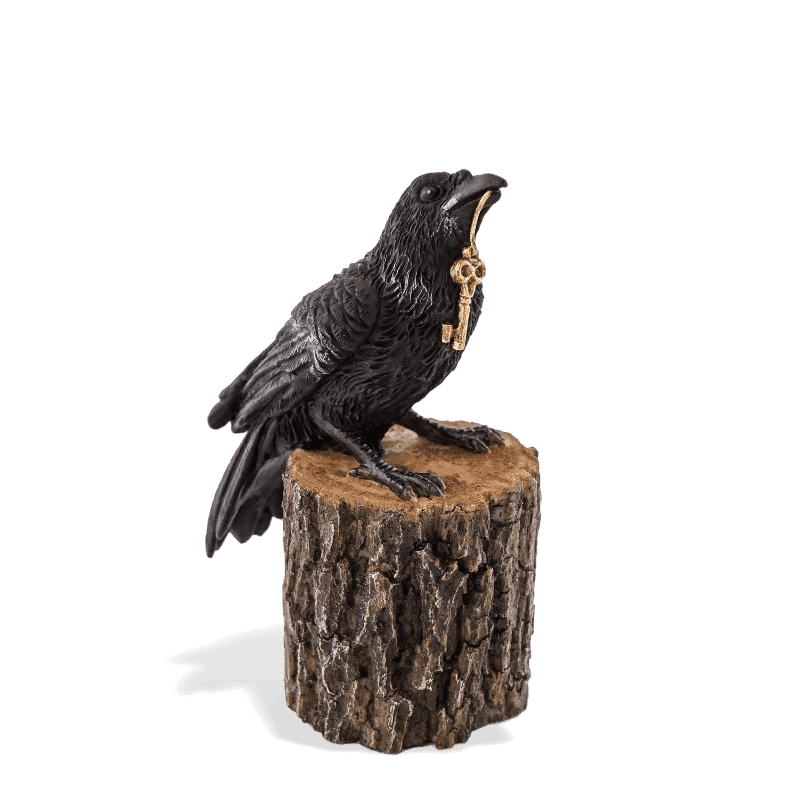 raven on a stump miniature figurine