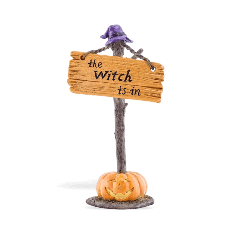 Witch Is In Sign with witch at for fairy gardens