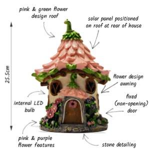Pink Dahlia Solar Fairy House