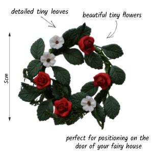 red flower wreath