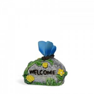Welcome Stone with Blue Butterfly