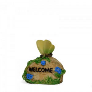 Welcome Stone with Yellow Butterfly