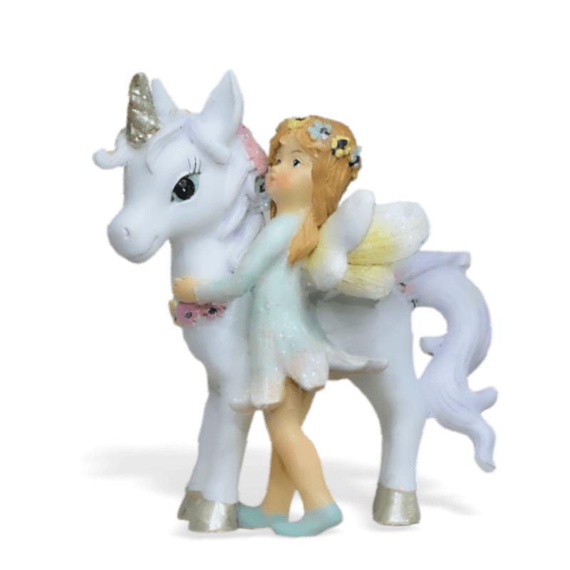 unicorn with standing green fairy