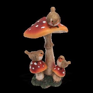 Triple Mushroom with Birds