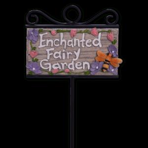 """""""Enchanted Fairy Garden"""" Sign w/ Stake"""