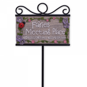 """""""Fairies Meeting Place"""" Sign w/ Stake"""