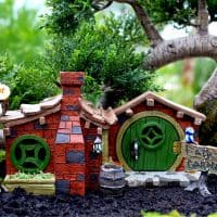 My Fairy Garden featuring brick hobbit house